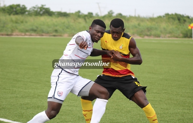 Ghana Black Stars B vs Inter Allies in a friendly encounter at the Ghanaman Soccer of Excellence in Prampram in Greater Accra