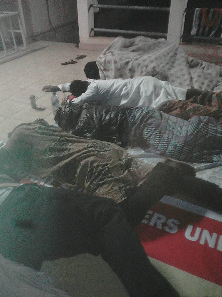 Ghanaian fans slept on bare floor in open spaces in Ouagadougou on Saturday night