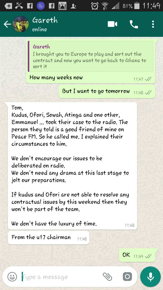 Alleged WhatsApp Message from Kwaku Eyiah to Tom Vernon