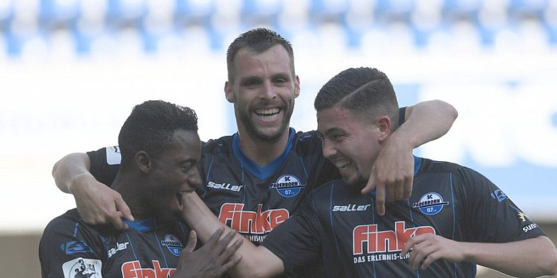Christopher Antwi-Adjei, left, celebrates his goal for Paderborn