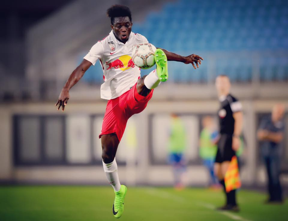 Gideon Mensah was sent off while in action for Liefering