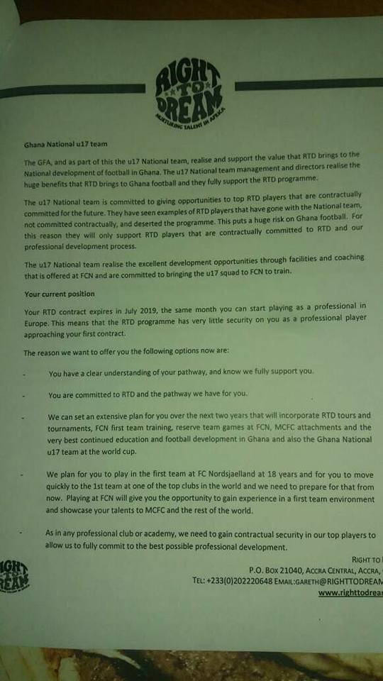 Purported MoU between the Ghana FA and RtD Academy
