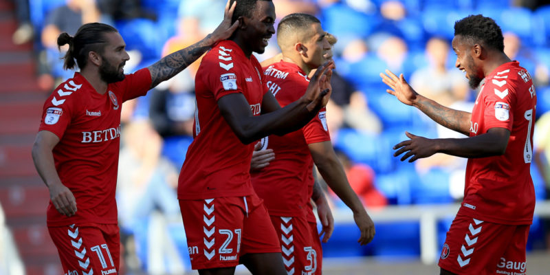 Charlton Athletic's Joe Dodoo (Centre) celebrates after he scores his sides fourth goal.