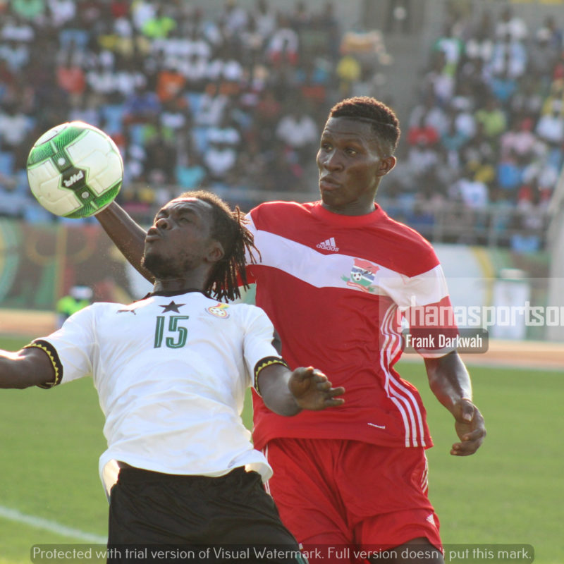Striker Stephen Sarfo applies a chest-control during the second-half of the game