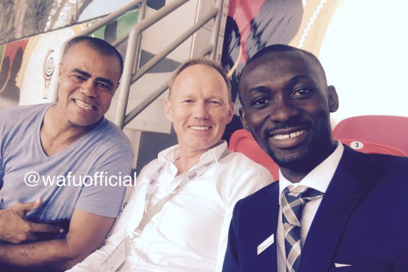 Kotoko coach Steve Pollack, first from left, with Nuttal - head coach of Hearts with Hearts social media guru Anwar Larry