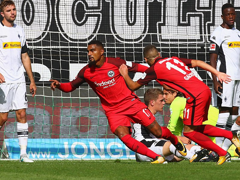 Kevin Boateng dashes away to celebrate his goal