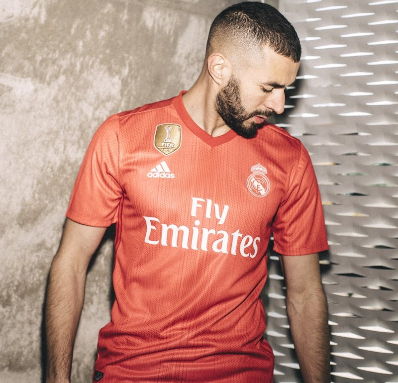Karim Benzema, a striker of Real Madrid, models in the club's third kit purely made from ocean plastic. PHOTO: Real Madrid USA Twitter handle