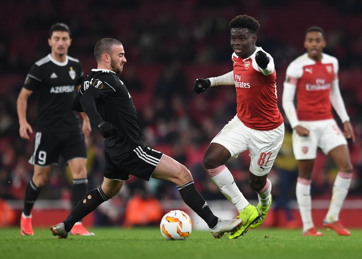 Saka, born to Ghanaian parents in England, impressed for Arsenal in the Europa League